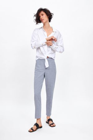 Zara Spodnie cygaretki w marmurkowy deseń