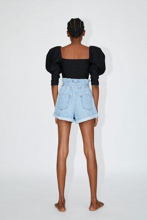 Zara Spodenki jeansowe typu paperbag