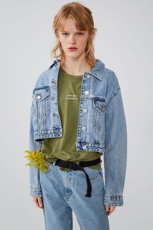 Zara Kobieta Z krótkim rękawem - Koszulka z efektem sprania z napisem