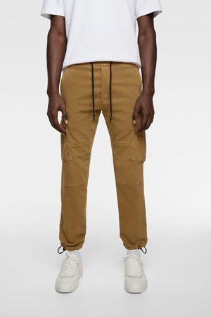 Zara Spodnie jeansowe typu cargo z miękkiego materiału