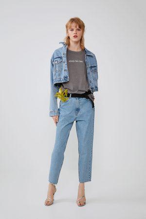 Zara Koszulka z efektem sprania z napisem