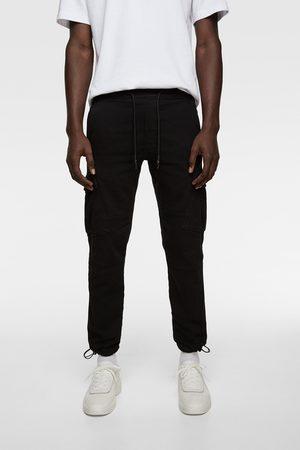 Zara Mężczyzna Bojówki - Spodnie jeansowe typu cargo z miękkiego materiału