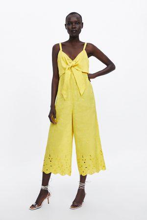 Zara Kombinezon z ozdobnym wiązaniem i haftem