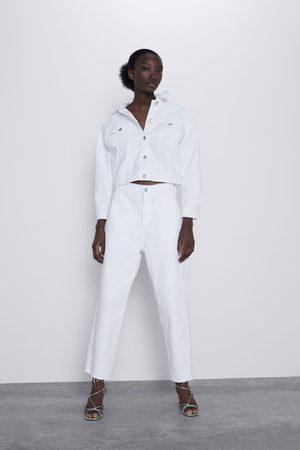 Zara Spodnie jeansowe o krótszym kroju z wysokim stanem z kolekcji z1975