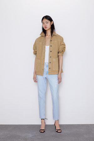 Zara Spodnie jeansowe w stylu mom fit z rozdarciami z kolekcji z1975