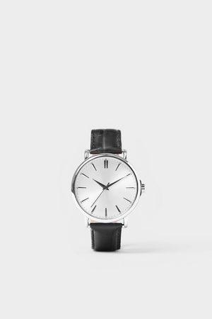 Zara Mężczyzna Zegarki - Zegarek w stylu vintage z czarnym skórzanym paskiem