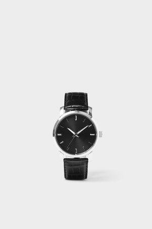 Zara Zegarek w stylu minimalistycznym z czarnym skórzanym paskiem