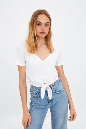 Zara Koszulka z efektem sprania i wiązaniem