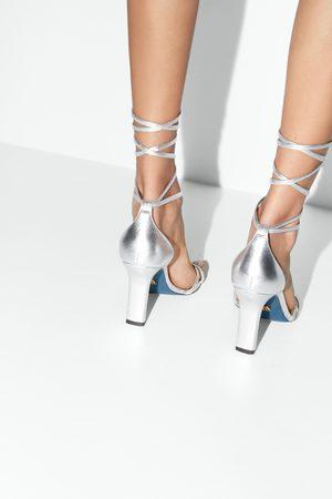 Zara Skórzane sznurowane sandały na obcasie z kolekcji blue