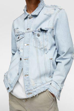 Zara Kurtka jeansowa z rozdarciami