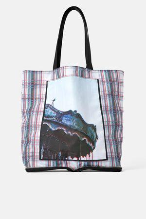 Zara Kobieta Torby shopper - Składana torba typu shopper z nadrukiem fotograficznym