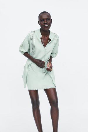 Zara Kobieta Sukienki - Sukienka z ażurowymi wstawkami i troczkami