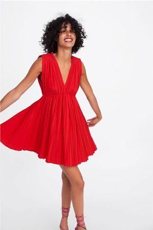 Zara Popelinowa sukienka z plisowaniem
