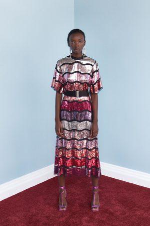 Zara Kobieta Sukienki - Sukienka z cekinami i paskiem z limitowanej edycji