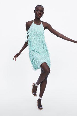 Zara Krótka sukienka z frędzlami
