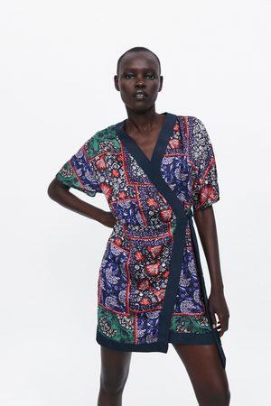 Zara Sukienka z nadrukiem i wiązaniem