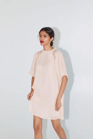 Zara Plisowana sukienka ze wstawkami z gipiury