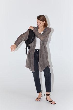 Zara Lniana kurtka z kieszeniami