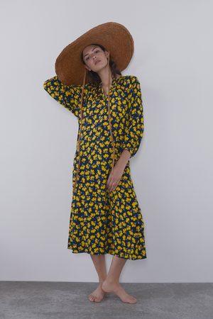 Zara Długa sukienka z nadrukiem w kwiaty