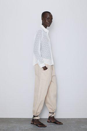 Zara Koszula z ażurowym haftem