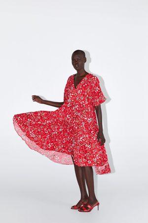 Zara Sukienka średniej długości z nadrukiem w kwiaty