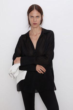 Zara Koszula z półprzezroczystej tkaniny w paski