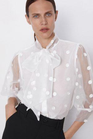 Zara Koszula w kropki z wiązaniem