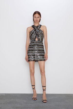 Zara Kopertowa sukienka z cekinami