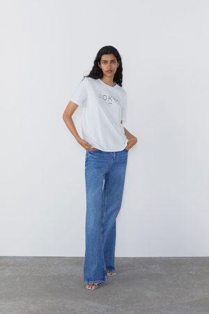 Zara Koszulka z nadrukiem i haftem