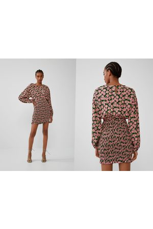 Zara Sukienka z nadrukiem i gumkami