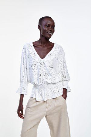 Zara Koszulka ażurowym haftem