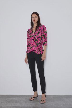 Zara Szeroka bluzka z nadrukiem