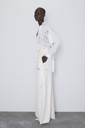 Zara Wzorzysta bluzka o kopertowym kroju