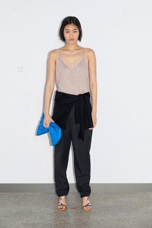 Zara Lniana koszulka na ramiączkach