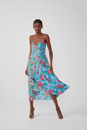 Zara Asymetryczna sukienka z nadrukiem