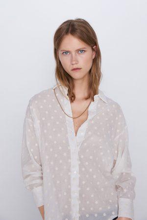 Zara Koszula z haftem w kropki