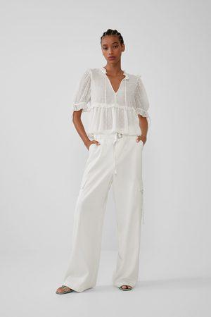 Zara Koszula z tkaniny plumeti