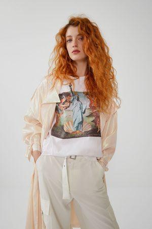 Zara Kobieta Z krótkim rękawem - Koszulka z nadrukiem z przodu