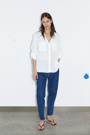 Zara Lniana koszula z kieszeniami