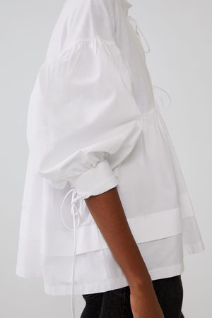 Zara Koszula z łączonych tkanin z wiązaniem