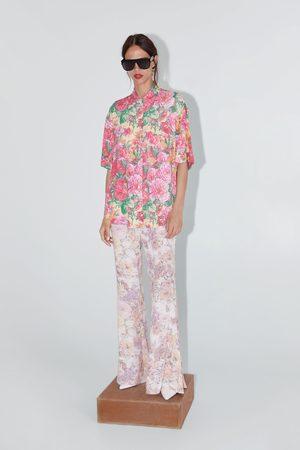 Zara Wzorzysta koszulowa bluzka