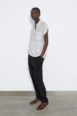 Zara Lniana koszula z kieszenią