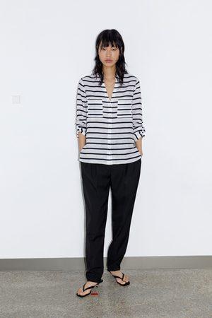 Zara Lniana koszula w paski