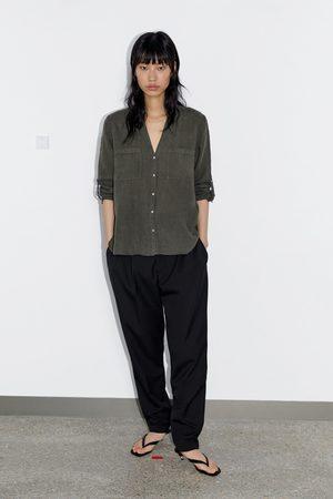 Zara Kobieta Koszule - Lniana koszula z kieszeniami