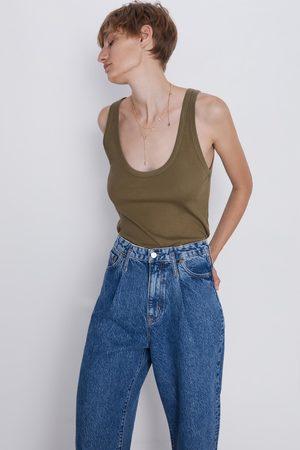 Zara Koszulka z prążkowanej dzianiny na ramiączkach