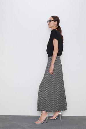 Zara Plisowana spódnica z nadrukiem