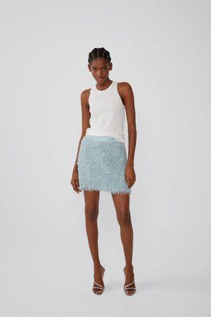 Zara Spódnica mini z mechatej dzianiny
