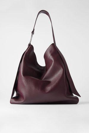 Zara Kobieta Torby shopper - Skórzana płaska torba typu shopper