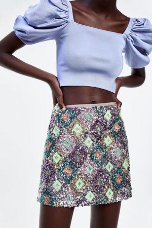 Zara Spódnica mini z cekinami