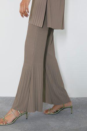 Zara Spodnie z ozdobnym marszczeniem